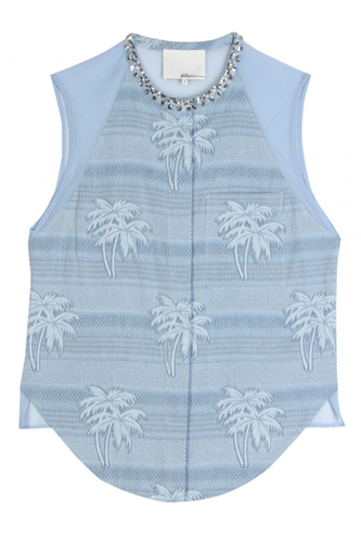 3.1 Phillip Lim Sleeveless Shirt with Beaded Neckline and Illusion Back, $395, available at MyTheresa.