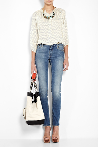 Acne Washed Mid-rise Skinny Jeans, $280.50, available at My Wardrobe.