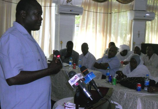 Mr. Antipas Nyok addressing the traders at the New Sudan Hotel in Juba [©Gurtong]