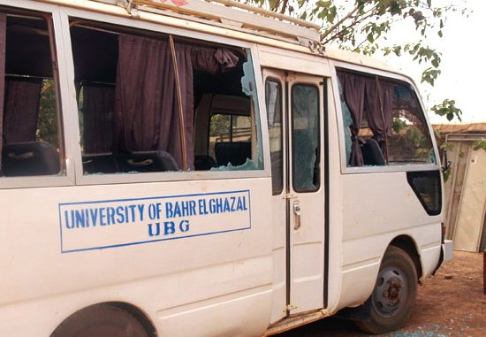 One of the University minibuses destroyed during the students rampage [©Gurtong]