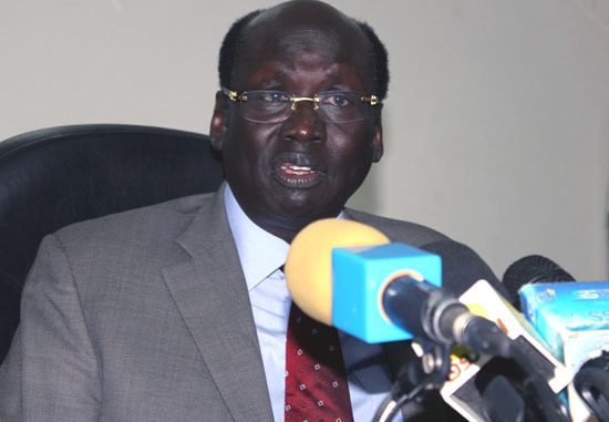 Dr. Barnaba Marial Benjamin speaking to the press in a previous conference in Juba [©Gurtong]