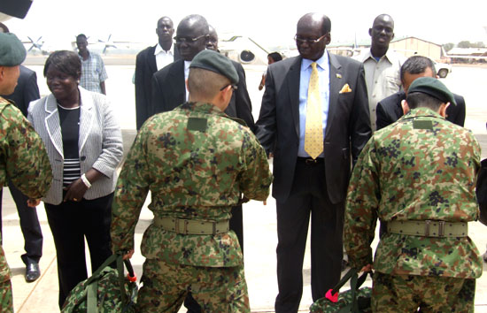 (L-R) Dr. Ann Itto, Gier Chuang Aluong and Dr. Barnaba Marial Benjamin receiving the Japanese Engineering contingent at Juba International Airport [©Gurtong]