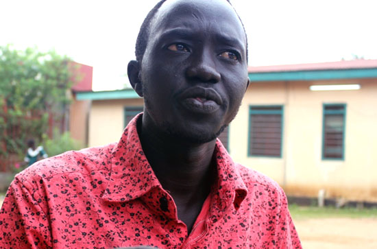 Mr. Madding Ngor, a Journalist at Bakhita Radio Station recently assaulted by SSNA security personnel