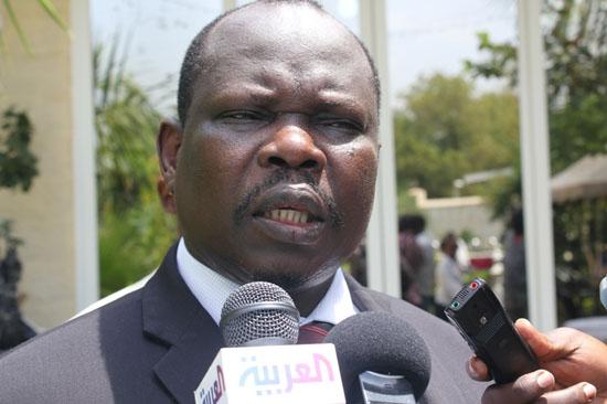 Mr. Pagan Amum speaking to press in Juba [©Gurtong]