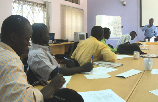 The South Sudanese journalists attending the training at African Center for Media Excellence in Kampala [©Gurtong]