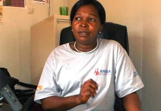 Western Equatoria Director of HIV/AIDS Commission Jane Pia Bangbe speaking to Gurtong in her office in Yambio [©Gurtong]