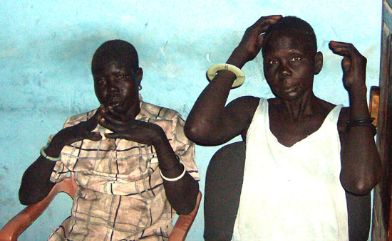 The two women resting in a police station in Bor County after they were released by their abductors [©Gurtong]