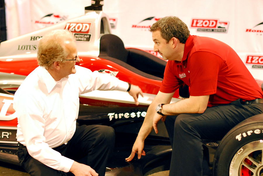 Trevor Knowles, Director of Engine Development at INDYCAR shares a laugh with Charlie Johnstone, Vice President and General Manager of the Honda Indy Toronto