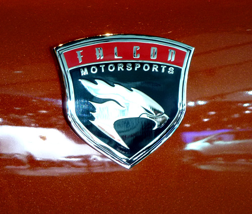 Falcon Motorsports logo shimmers against the bronze painted F7 (Aman Dhanoa)