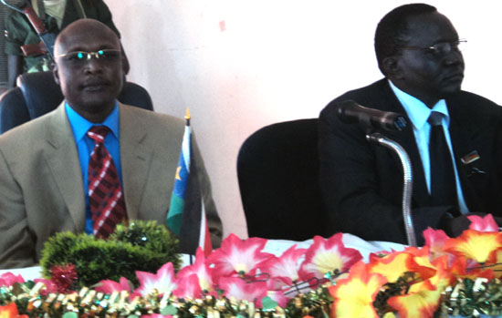 (L-R) Governor Louis Lobong Lojore and EES President of High Court Justice Sumeya Saleh [©Gurtong]