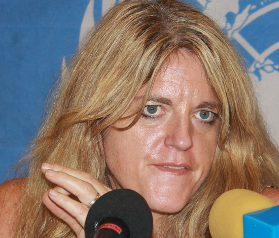 Hilde F. Johnson speaking to the press in Juba previously at the UNMISS Office [©Gurtong/ Waakhe S. Wudu]