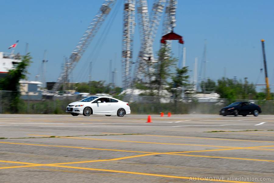 Professional drivers showcased how well these manual transmission Civic Si HFP's handle in a track environment
