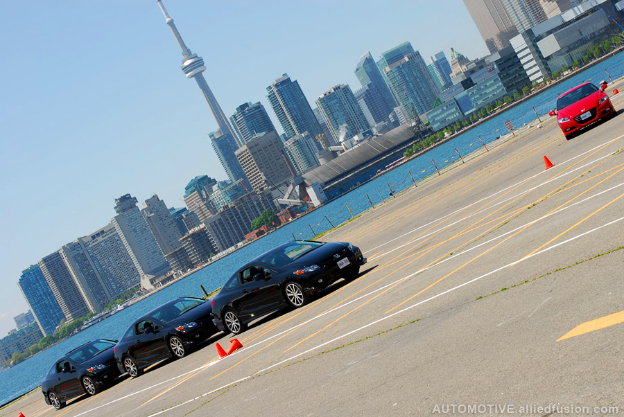 The views of the Toronto skyline accented by some very cool Honda stick shift cars