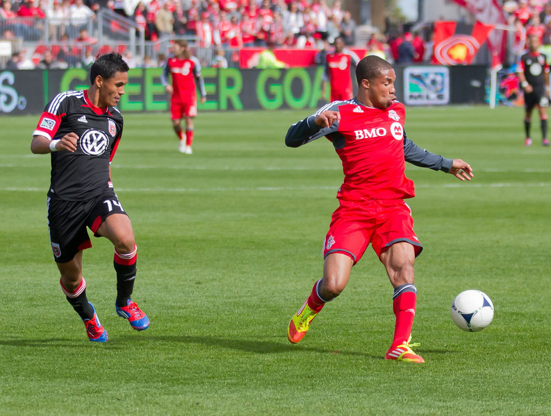 TFC forward Ryan Johnson collect a pass while United's Andy Najar follows him closely. Johnson was very critical of the team's game plan after the game and said change was needed (JP Dhanoa)