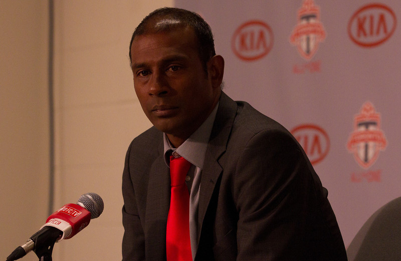 TFC's Head Coach and Technical Director Aron Winter wears a look of frustration and fatigue while answering questions from media in the post-game press conference (JP Dhanoa)