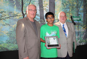 Enviro Award - (l-r) Harnoor Gill receiving Citizen Award of Conservation Halton's Awards of Excellence at their annual awards ceremony June 7th, 2012 from Bryan Lewis and Dave Kentner, Councillors of Town of Halton Hills, Ontario