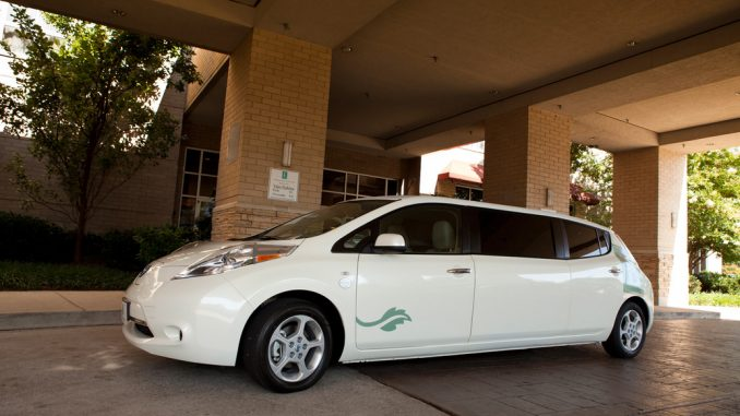 The Nissan LEAF stretch limousine at home in front of the Embassy Suites Nashville South