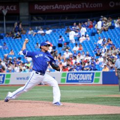 Toronto Blue Jays pitcher Henderson Alvarez throws one of his 80 pitches on Saturday afternoon. The right-handed pitcher picked up his fifth win in his team's 11-2 victory over the Los Angeles Angels in front of 29,287 fans at Rogers Centre (John Lucero)