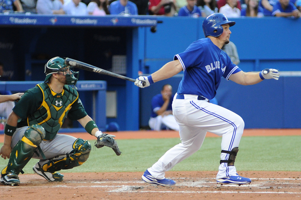 Blue Jays outfielder Travis Snider continues to swing a hot bat after hitting a solo home run in the third inning. He has hit in all four games since being called up from Triple-A Las Vegas including homering in back-to-back games (Karan Vyas)