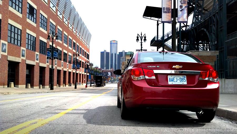 Chevrolet Cruze Eco overlooking the GM Renaissance Center in Detroit, Michigan