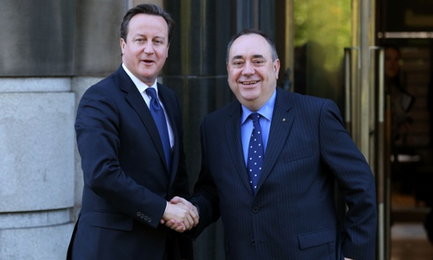 U.K. Prime Minister, David Cameron while shaking hand with Scotland's First Minister, Alex Salmond at St. Andrews House in Edinburgh