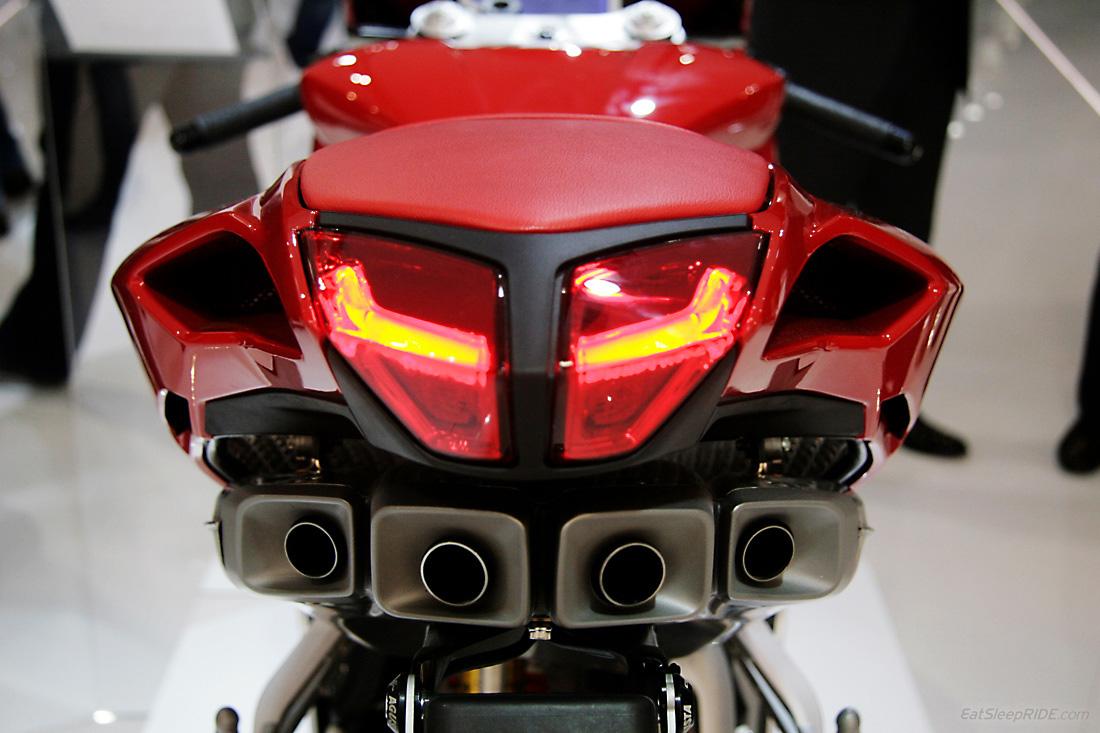 2013 MV Agusta F4 taillights and iconic quad-exhaust setup. Photo: EatSleepRIDE.com