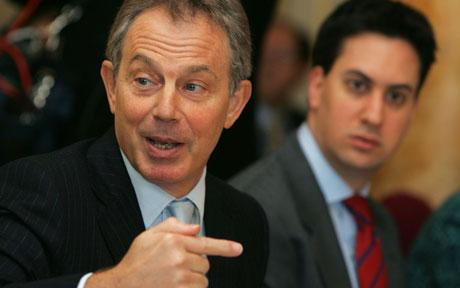Ex-Labour leader Tony Blair with current Labour leader Ed Miliband