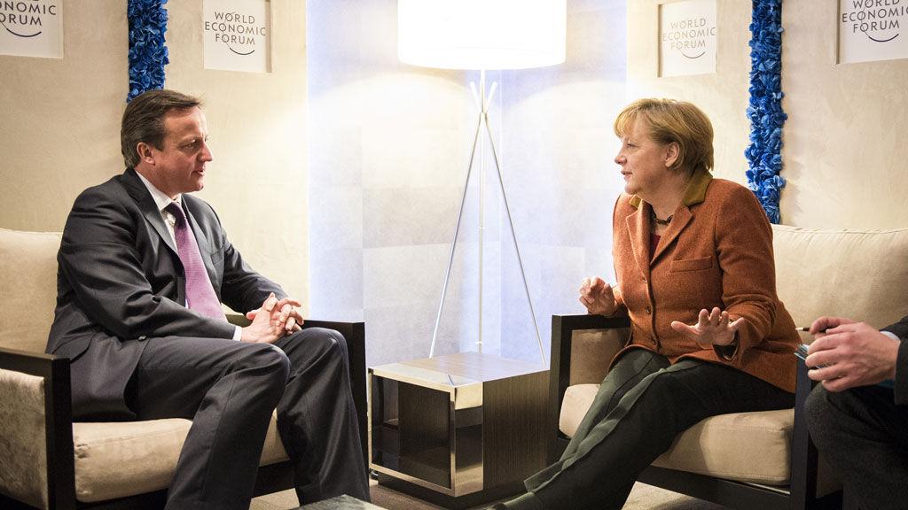 U.K. PM David Cameron with German Chancellor Angela Merkel