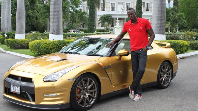 Usain Bolt and his facotry personalized Nissan GT-R