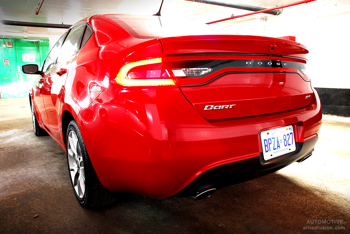 The Dodge Charger inspired 'racetrack' taillamps on the new Dart