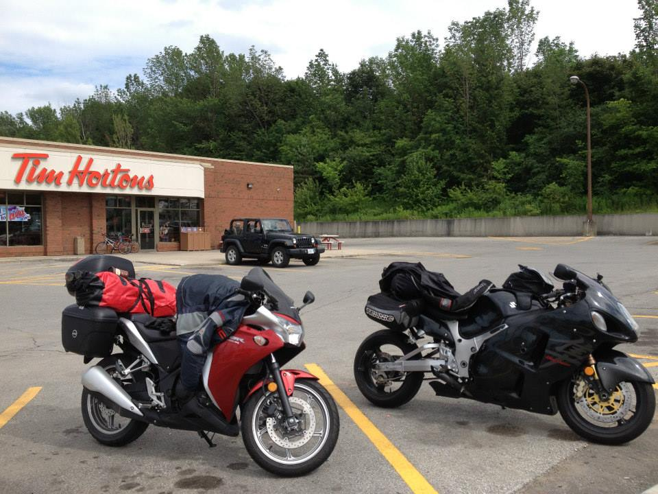 Both bikes fully loaded the riders made their obligatory Tim Hortons stop