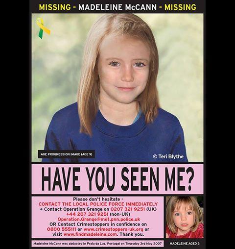 Missing British child Madeleine McCann
