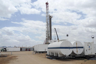 An oil rig used in drilling in the Lokichar basin - a part of the East African Rift System in Turkana County Kenya.