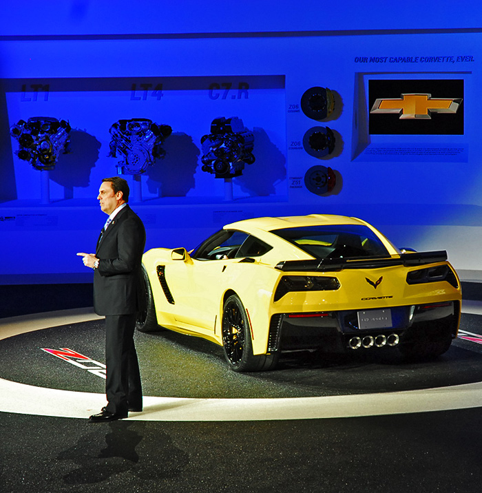 Mark Reuss, president, General Motors North America presents the new Z06 at the North American International Auto Show in Detroit. Image by Kanishka Sonnadara.