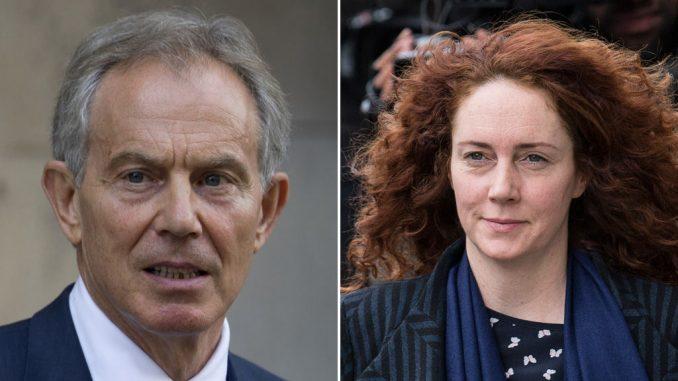 Fomer PM Tony Blair and Former News of the World editor Rebbekah Brooks