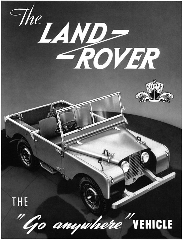 Brochure cover art from the very first Series I Land Rovers