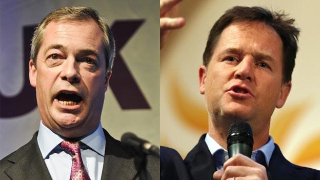 UKIP leader Nigel Farage and Deputy PM Nick Clegg