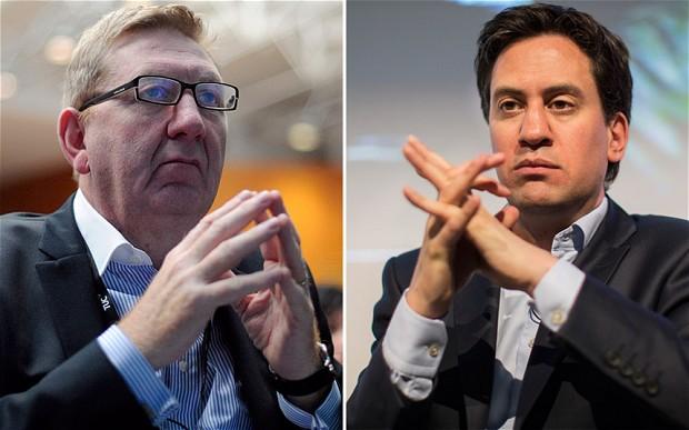 Unite General Secretary Len McCluskey left and Labour leader Ed Miliband right