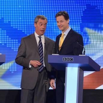 Deputy PM Nick Clegg with UKIP leader Nigel Farage during second televised debate over EU