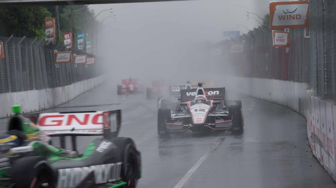 A short lived attempt at IndyCar racing through inclement weather on the Streets of Toronto