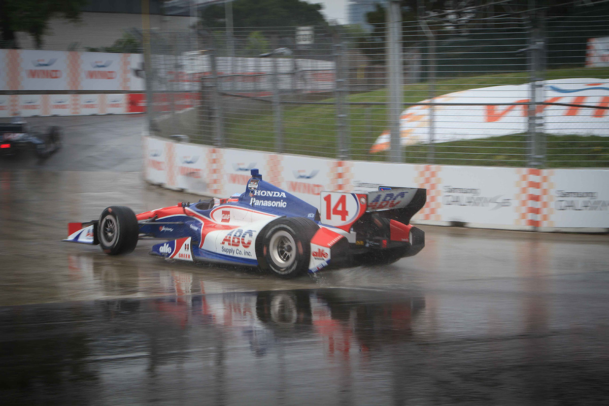 Racing on Firehawk rain tires, IndyCars have an added measure of grip when racing on wet track