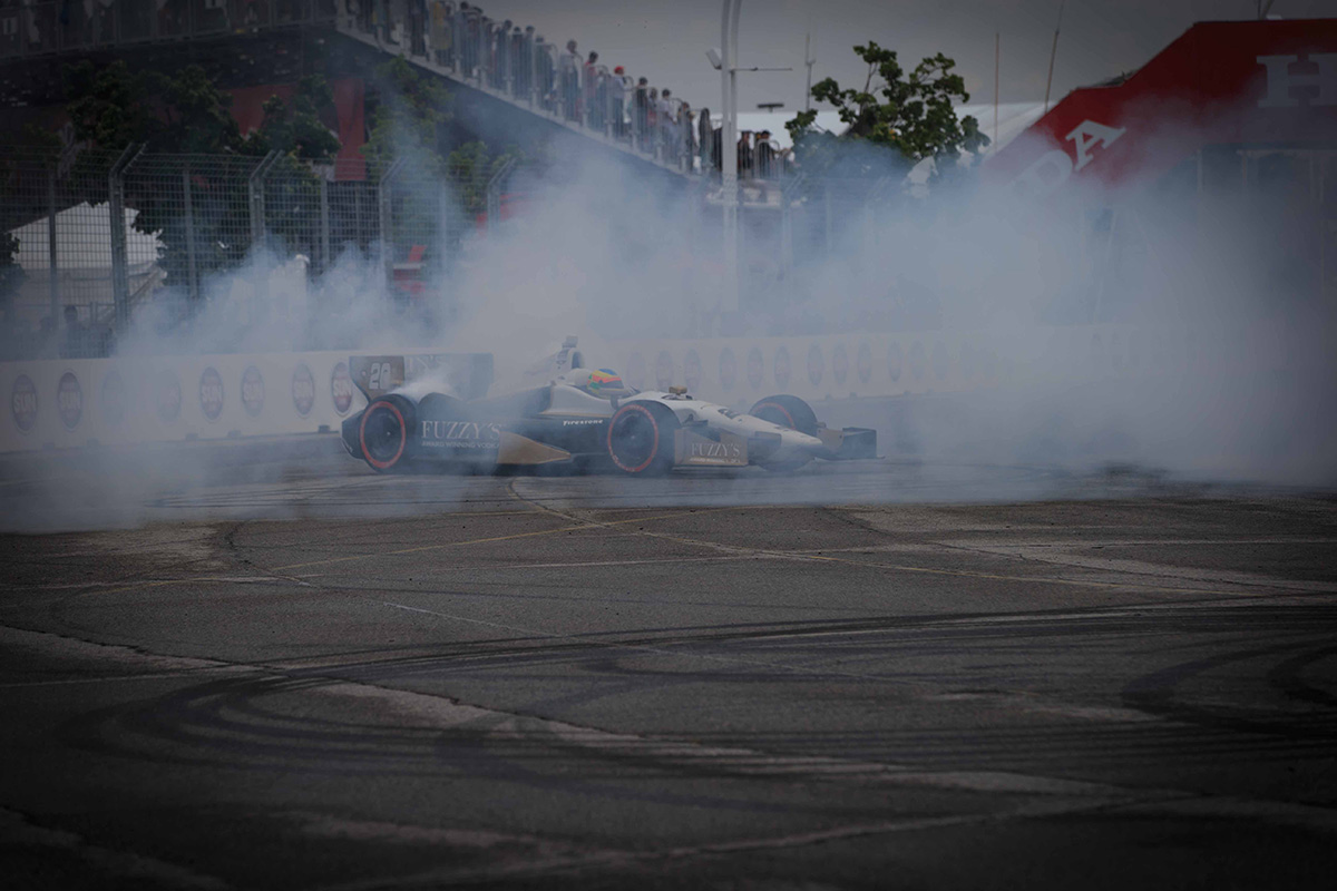 Conway was not on the radar for winning in Toronto, but he did and made sure to give the fans a bit of a show after the race by doing a few skillful donuts