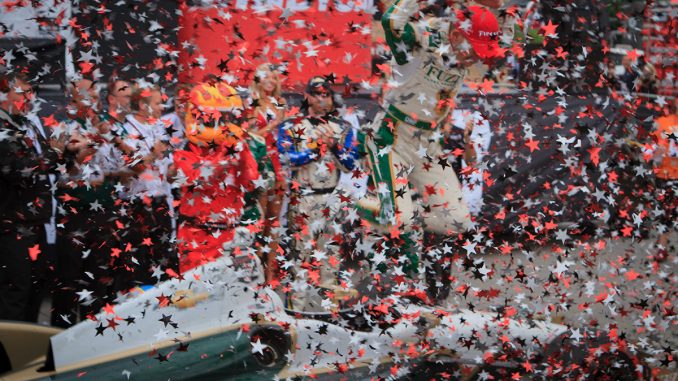 Mike Conway exuberant after winning Race 2 of the 2014 Honda Indy Toronto