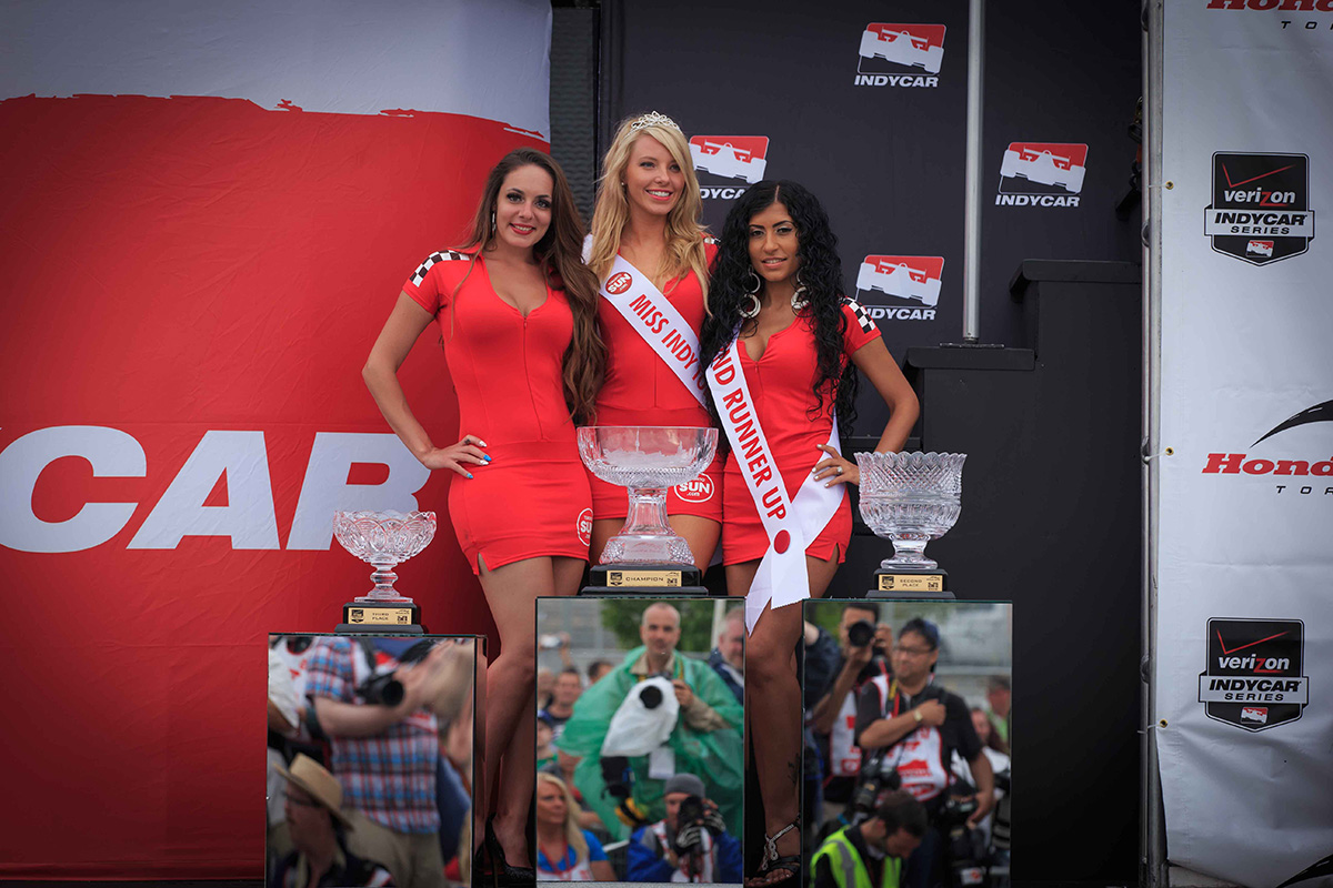 Crystal trophies from William Ashley and Toronto Sun Grid Girls greeted the winners at the podium on Sunday