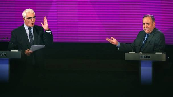 Better Together leader Alistair Darling and Scottish First Minister Alex Salmond during their second TV debate in Glasgow