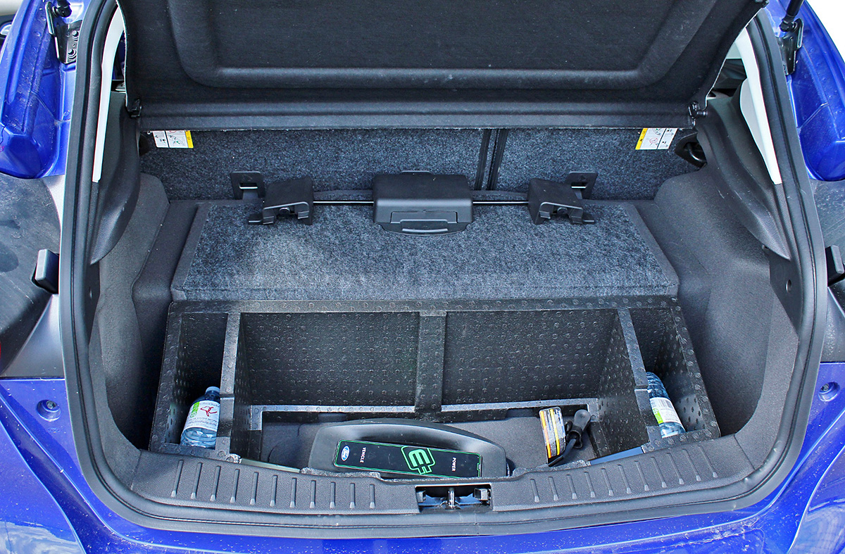 An EV's batteries take up a lot of space. What remains is well organized in the Focus Electric.