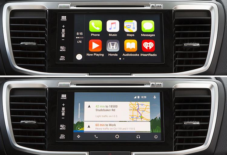 Top image: Apple's CarPlay. Bottom image: Google's Android Auto.