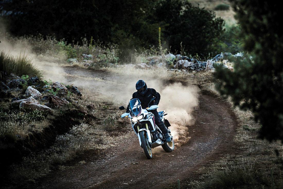A comfortable, made for off-road riding position on the 2016 Honda Africa Twin.