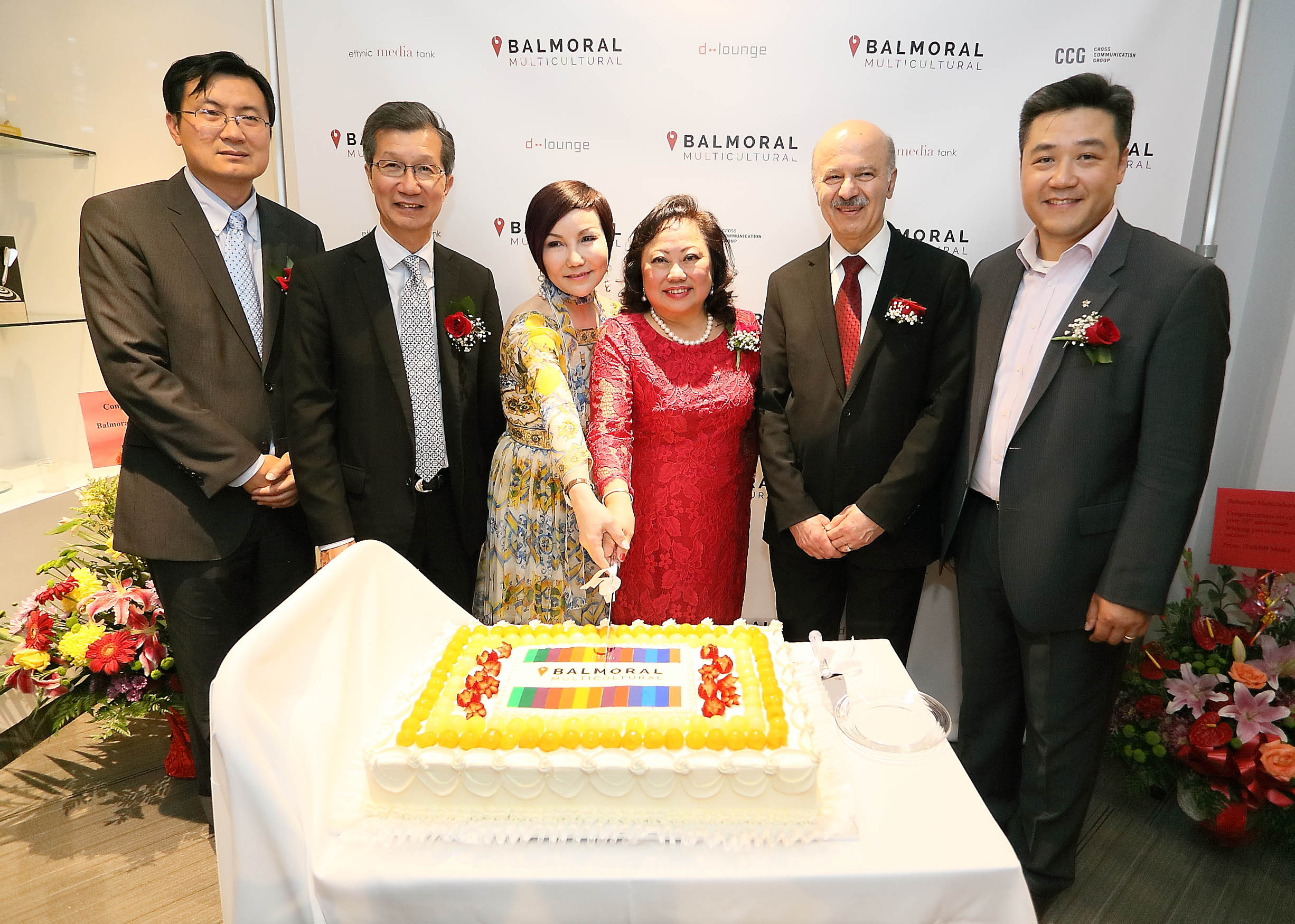 From Left: Xu Wei, Deputy Counsel General of the People's Republic of China in Toronto, Hon Michael Chan, Minister of Citizenship, Immigration and International Trade, CCG President Shirley Sun, Balmoral President Sharifa Khan, Reza Moridi, Minister of Research and Innovation & Minister of Training, Colleges and Universities and MPP Han Dong.