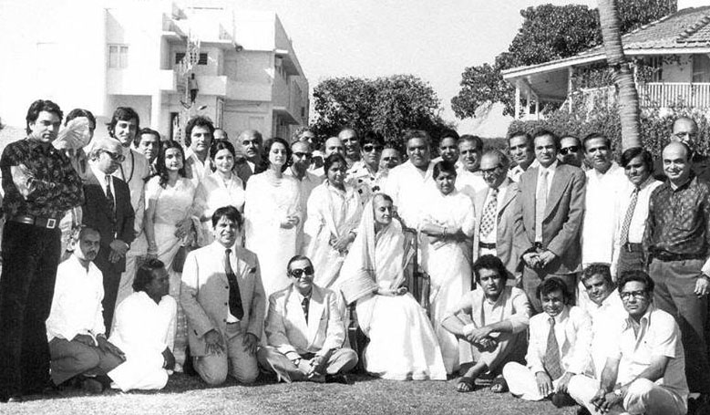 A file pic of Indira Gandhi with prominent Bollywood personalities.